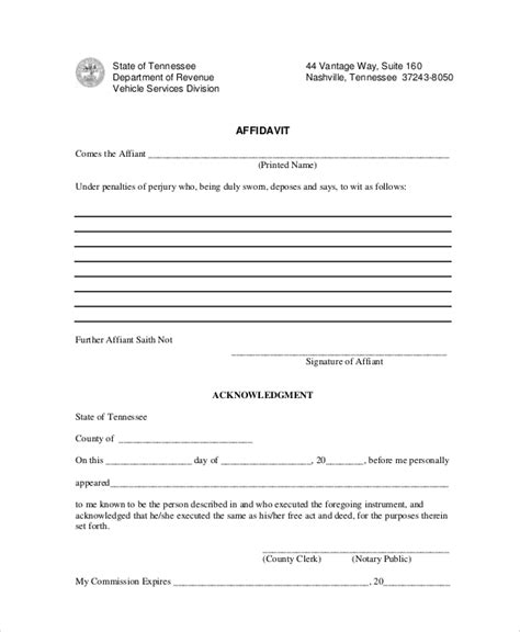 sle blank affidavit form 6 documents in pdf