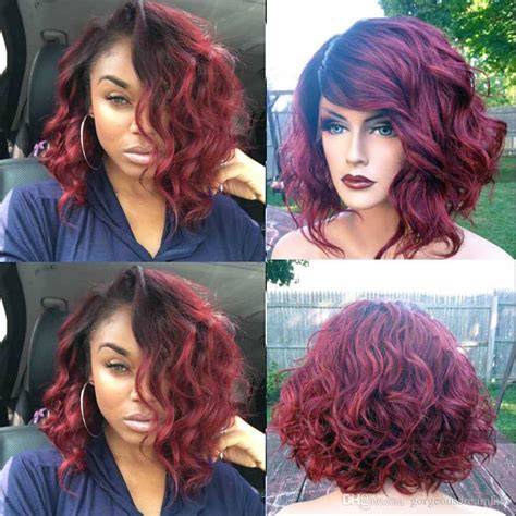 pictures of black ombre body wave curls bob hairstyles cheap ombre 99j short bob wavy body wave human lace front