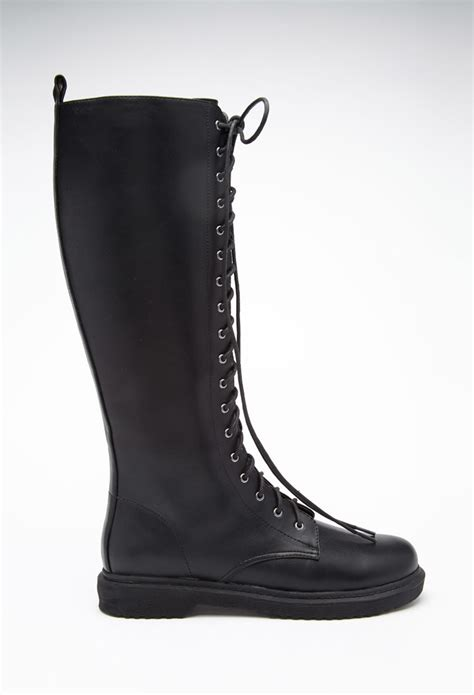 forever 21 shoes boots forever 21 lace up boots in black lyst