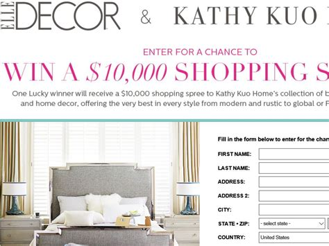 home decor sweepstakes elle decor kathy kuo sweepstakes