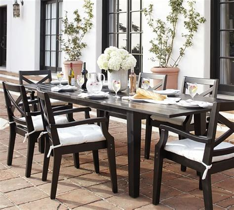 Pottery Barn Black Dining Table Hstead Painted Rectangular Extending Dining Table Chair Set Black Pottery Barn