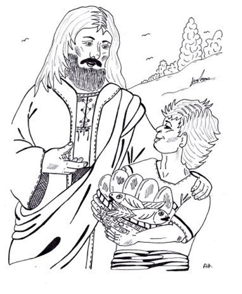 sunday school coloring pages fish parable of two fish and five loaves sunday school lesson