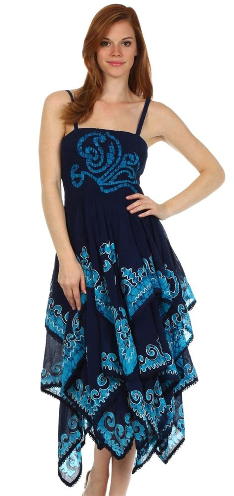 Hem Batik Navy sakkas 6631 batik smocked bodice handkerchief hem dress navy turquoise one