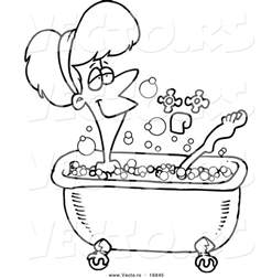 Bathrooms With Clawfoot Tubs Vector Of A Cartoon Relaxed Woman Taking A Bath Coloring