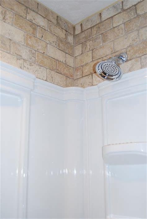 tile above shower insert bath ideas