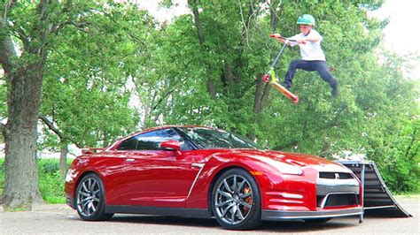 nissan gtr roman atwood super bad idea gtr vs scooter youtube
