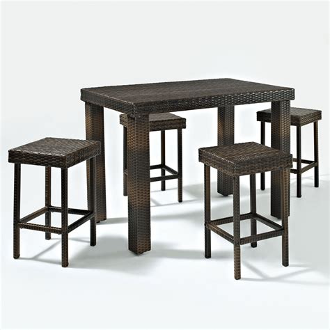 High Dining Table And Stools Crosley Palm Harbor 5 Outdoor Wicker High Dining Set Table And Four Stools Ko70010br
