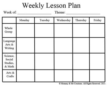 Weekly Preschool Lesson Plan Template By Mommy And Me Creations Tpt Toddler Lesson Plan Template