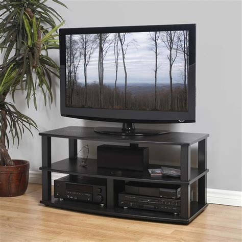 Wood Tv Shelf by Plateau Xt Series Heavy Duty 3 Shelf Black Wood Tv Stand
