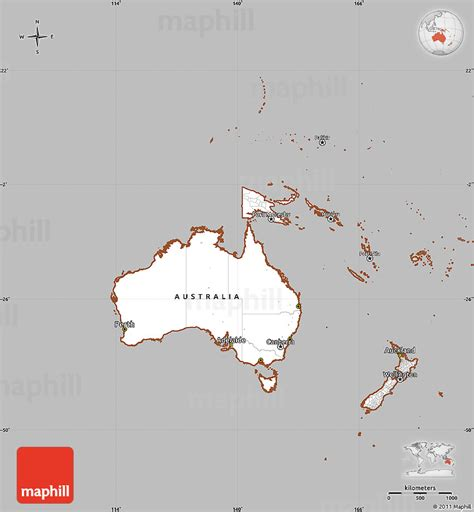 simple map of australia gray simple map of australia and oceania cropped outside