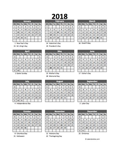 Calendar 2018 Excel Spreadsheet Editable 2018 Yearly Spreadsheet Calendar Free Printable