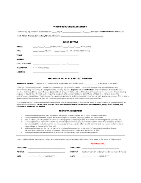 Video Production Agreement Form Free Download Sound Production Contract Template