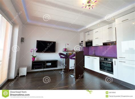 Modern Kitchen With Living Room Stock Photo   Image: 26076950