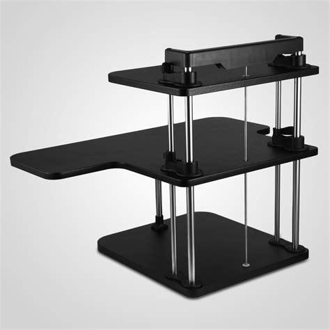 adjustable desktop standing desk 3 tier adjustable computer standing desk double poles