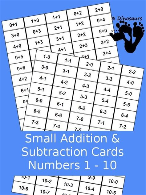 mixed number flashcards printable subtraction 187 printable subtraction flashcards free math