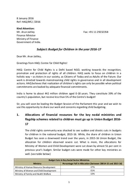 Letter Budget Letter To Finance Minister Budget For Children In The Year 2016 2017