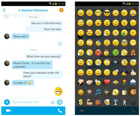 emoticons android skype 5 3 for android adds updated ui w chat bubbles