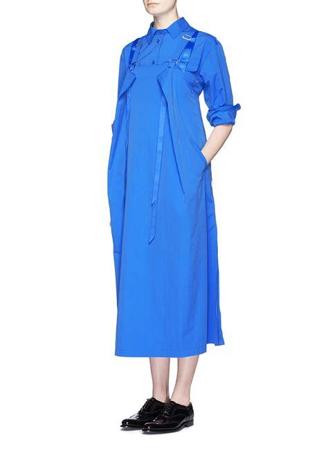 Blouse Blue Ribbon 2 chen ribbon appliqu 233 pleat hem shirt in blue lyst