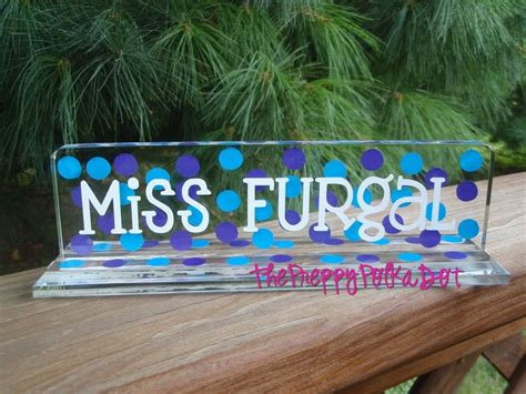 personalized teacher desk name plate polka dot name plate for the teacher s desk so cute i