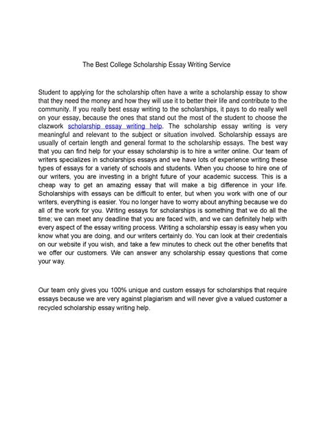 Best College Essay Writing Service by The Best College Scholarship Essay Writing Service By Vatoxekiw Issuu