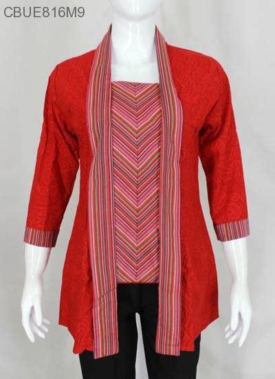 Busana Muslim M13 kutubaru tenun motif lurik blus lengan tanggung murah