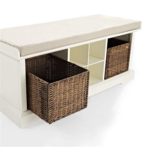 entry storage benches crosley brennan entryway storage bench in white beyond