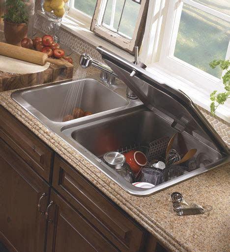 compact small space dishwasher fits into kitchen sink slot
