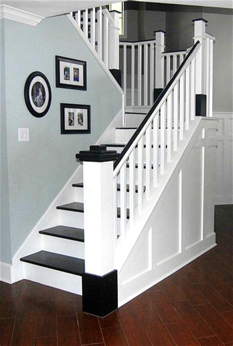Painted Staircases Black Vs White Painted Wood Stair Remodel Remodelaholic