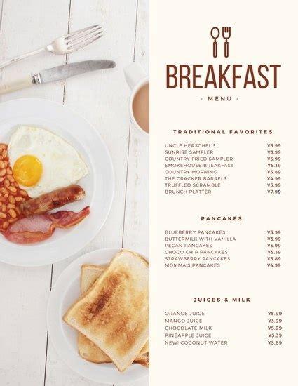Continental Breakfast Menu Ideas Menu And Resume Breakfast Menu Template Free