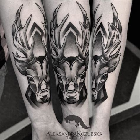 black and grey deer tattoo deer tattoo design best tattoo ideas gallery