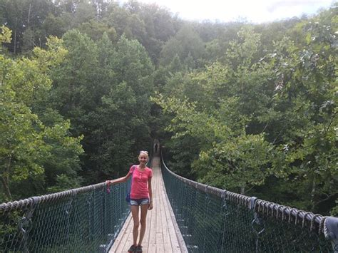 foxfire mountain swinging bridge rope bridge over lost mine falls picture of foxfire