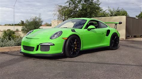 green porsche 2016 porsche 911 gt3 rs in green paint engine sound on