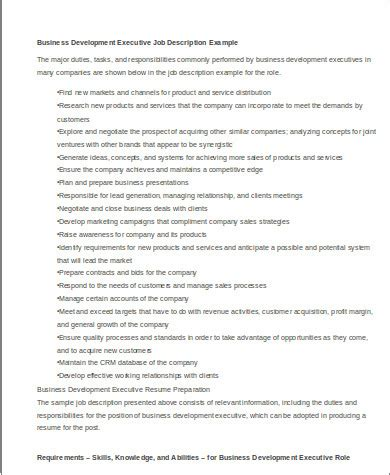 business development description 8 sle business development executive resumes sle