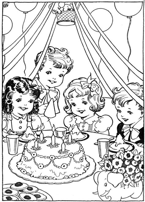 Vintage Kleurplaat Verjaardag Partijtje Having Fun At Vintage Coloring Pages