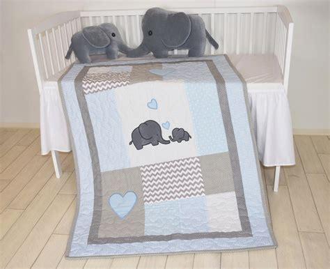 Chevron Baby Bedding Elephant Baby Quilt Blue Gray Crib Bedding Chevron
