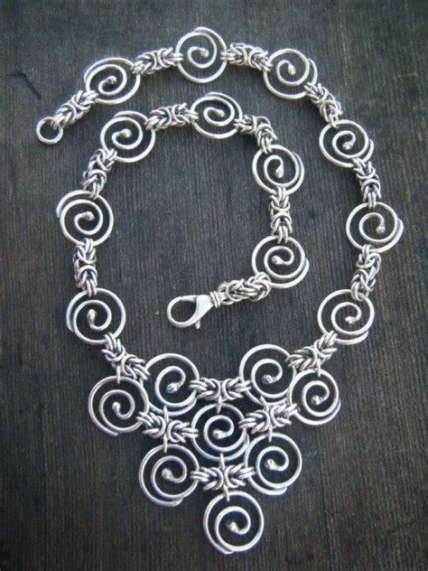 Spiral Silver Necklaces byzantine spiral pyramid handmade silver chain necklace