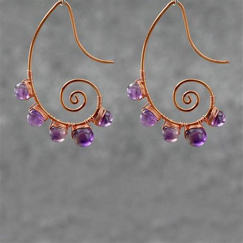 Handmade Wire Earrings Designs - amethyst scroll copper wire earrings handmade ani designs
