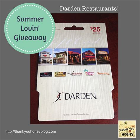 Darden Restaurants Gift Cards - summer lovin giveaway 3 thank you honey