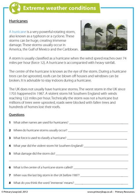 hurricane worksheet answers weather conditions hurricanes primaryleap co uk