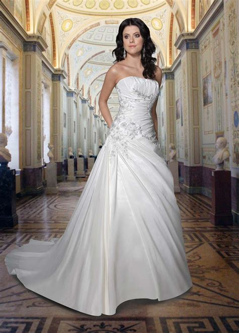 gorgeous a line strapless wedding dress with sweep