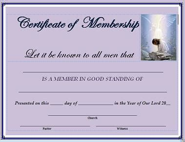Certificate Of Membership Church Membership Template
