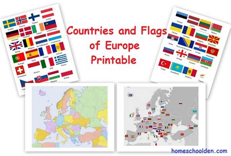 printable map of europe with countries europe countries and flag maps free printable