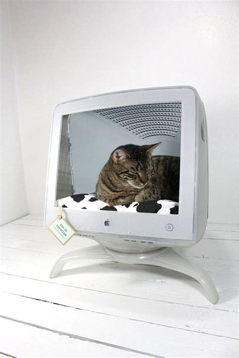 upcycled cat bed upcycled apple computer pet bed by atomicattic on etsy