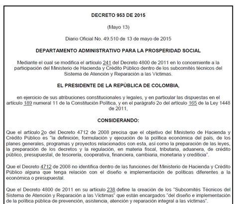 decreto de colegiaturas 2015 decreto 953 de 2015 unidad para las v 237 ctimas