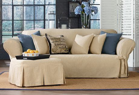 ticking stripe sofa slipcover sure fit slipcovers ticking stripe one piece slipcovers