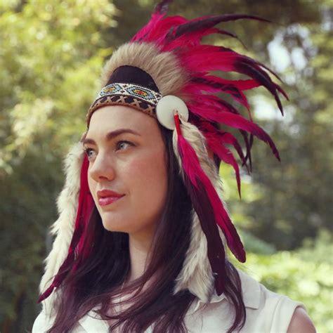 american indian war headdress light fur pink feather