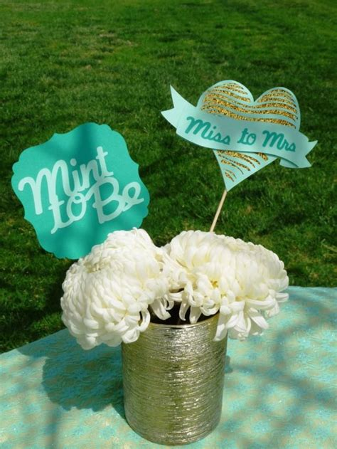 Mint Green Bridal Shower Ideas by Mint To Be Bridal Shower Centerpiece Miss To Mrs Glitter