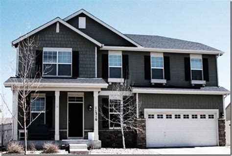 grey house siding exterior house color dark door dark shutters grey siding and shake white trim and
