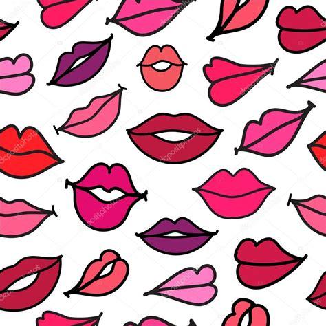 imagenes hipster de besos dibujado a mano vector rojo besos labios fondo