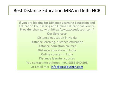 One Year Mba Delhi Ncr by Best Distance Education Mba In Delhi Ncr